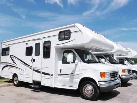 Recreational Vehicles are on a dealer's lot