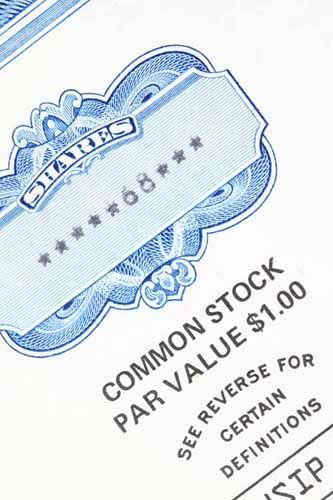 Close up of a stock certificate, a common Lost Instrument