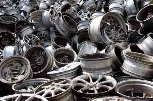 A pile of salvaged car parts