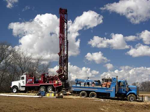 A Water Well Driller is set up in South Carolina
