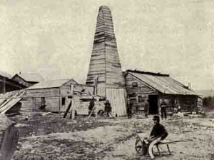 The first commercial oil well drilled in 1859.