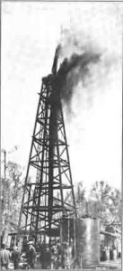 A gusher in the Spindletop oil field.